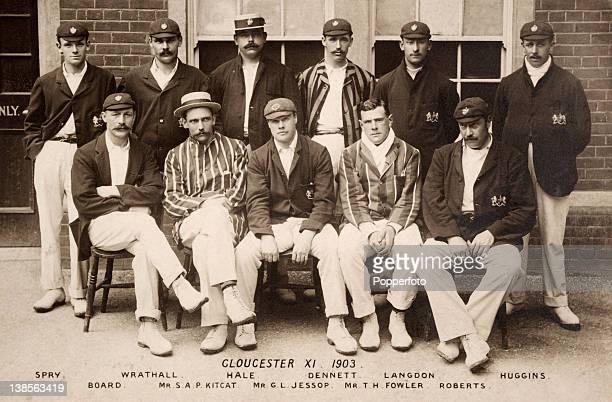 Gloucestershire county cricket team 1903 Back row EJSpry HWrathall WHHale EGDennett TLangdon HJHuggins Front row JHBoard SAP Kitcat GL Jessop TH...