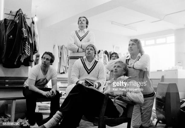 Gloucestershire cricketers Andy Stovold David Graveney Mike Procter Sadiq Mohammad Brian Brain and Andy Brassington watch television in the dressing...