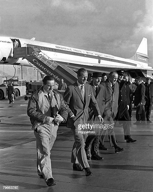 Gloucestershire England 12th January 1972 Prince Philip Duke of Edinburgh and chief test pilot Brian Trubshaw walk away from Concorde 002 after their...