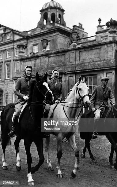 Gloucestershire England 18th April 1959 Queen Elizabeth II and Princess Margaret set out for a ride from Badminton House the home of the Duke of...