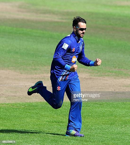 Gloucestershire's Jack Taylor celebrates after dismissing Hampshire's James Vince during the Royal London OneDay Cup Quarter Final between...