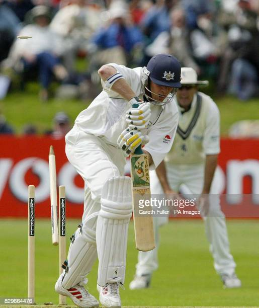 Gloustershire batsman Philip Weston looses his wicket to Kent's Andrew Hall