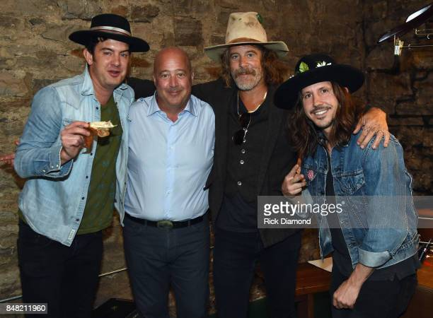 Love Chef Andrew Zimmern Donavon Frankenreiter and Cisco Adler backstage during the 18th Annual Americana Music Festival Conference Jamtown perform...