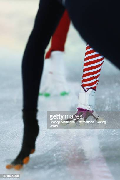 Glove detail in the Ladies 500m qurter final during day two of the ISU World Cup Short Track at Minsk Arena on February 12 2017 in Minsk Belarus