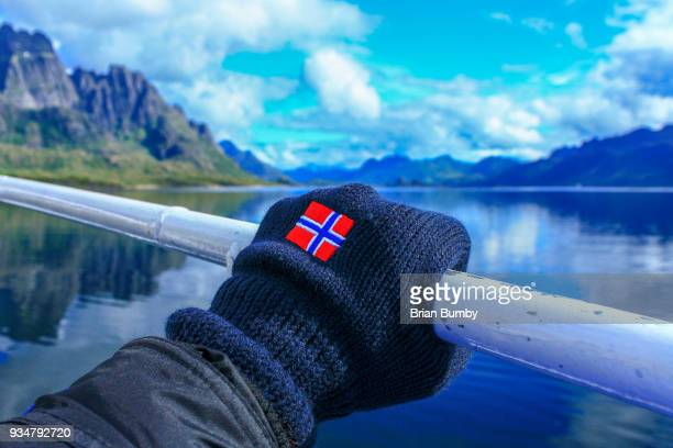 glove with norwegian flag - norwegian flag stock pictures, royalty-free photos & images