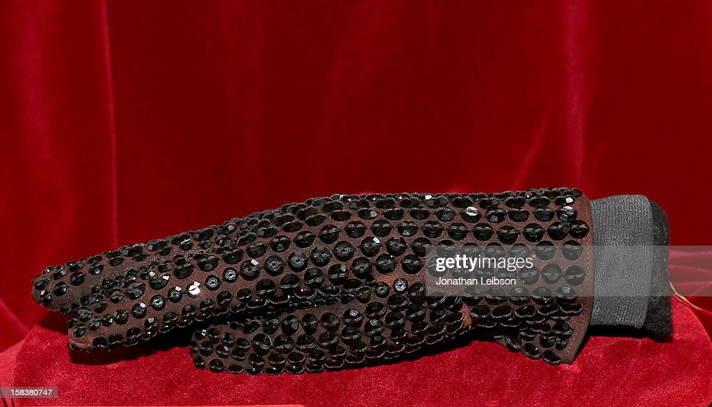 A glove worn by recording artist Michael Jackson is displayed at Nate D. Sanders Media Preview For Michael Jackson 1980's Iconic Stage-Worn Items on December 14, 2012 in Los Angeles, California.