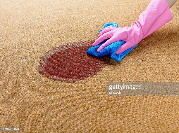 gloved hand cleaning a wet spot on floor - tapijt stockfoto's en -beelden