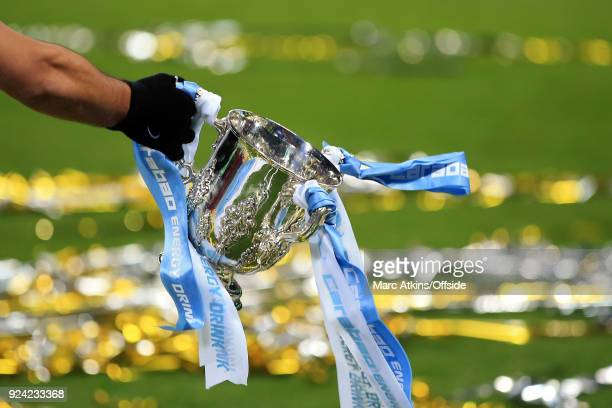 A gloved hand holds the trophy during the Carabao Cup Final between Arsenal and Manchester City at Wembley Stadium on February 25 2018 in London...