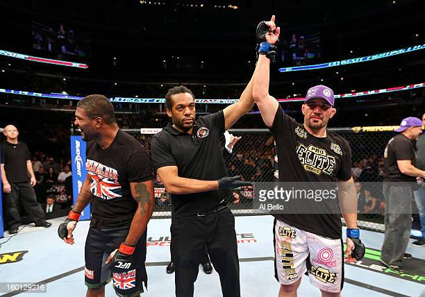 Glover Teixeira celebrates after defeating Rampage Jackson during their Light Heavyweight Bout part of UFC on FOX at United Center on January 26,...