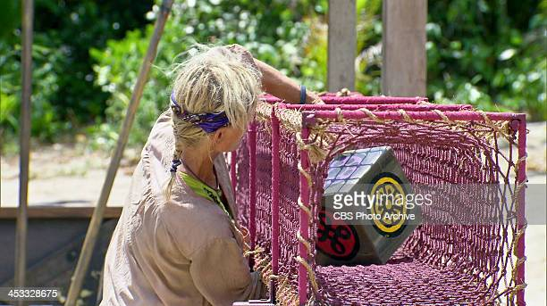 Gloves Come Off Tina Wesson competes in the Redemption Challenge during the eleventh episode of SURVIVOR BLOOD vs WATER Wednesday Nov 27 on the CBS...