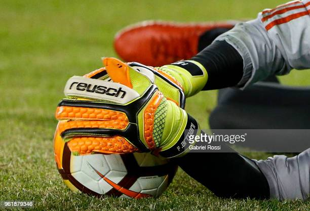 Gloves detail of Franco Armani goalkeeper of River Plate as he warms up prior to a match between River Plate and Flamengo as part of Copa CONMEBOL...