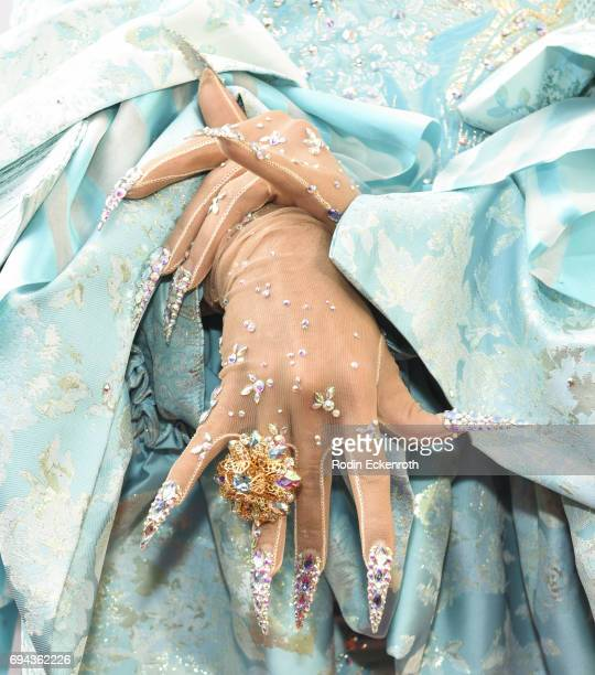Gloves fashion detail contestant Aja attends RuPaul's Drag Race Season 9 Finale Taping at Alex Theatre on June 9 2017 in Glendale California