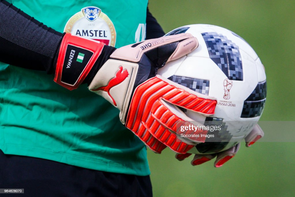 Gloves from Ikechukwu Ezenwa of Nigeria, with Adidas bal during the Nigeria Training at the The hive on May 31, 2018 in Barnet United Kingdom