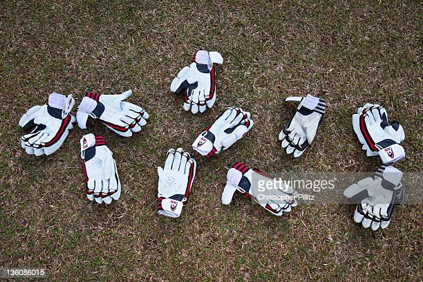 Gloves used by the Pakistan National Cricket team during a training session during the 2011 ICC World Cup Cricket tournament, Gaddaffi Stadium,...