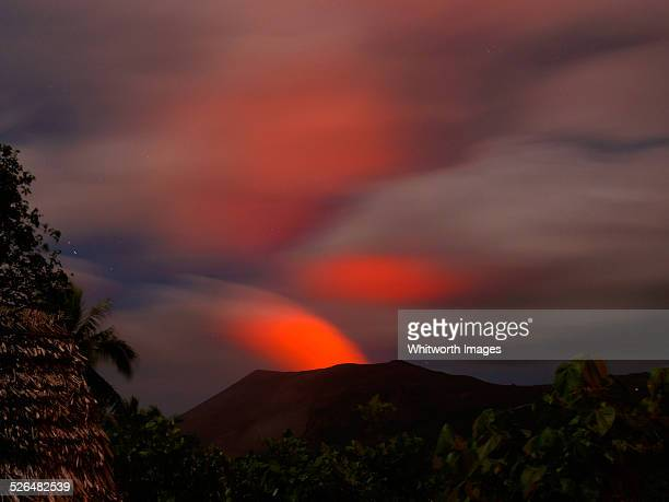 glow of mt yasur volcano at night in tanna vanuatu - active volcano stock pictures, royalty-free photos & images