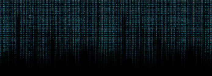 glowing blue binary code matrix background wide banner 923729070