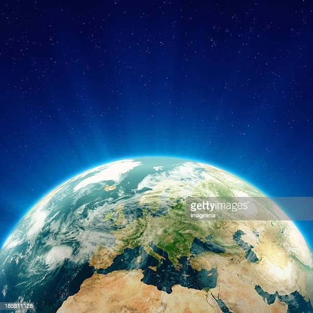 Glowing Blue Earth Europe