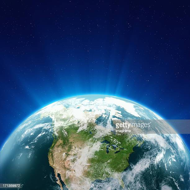 Glowing Blue Earth North America