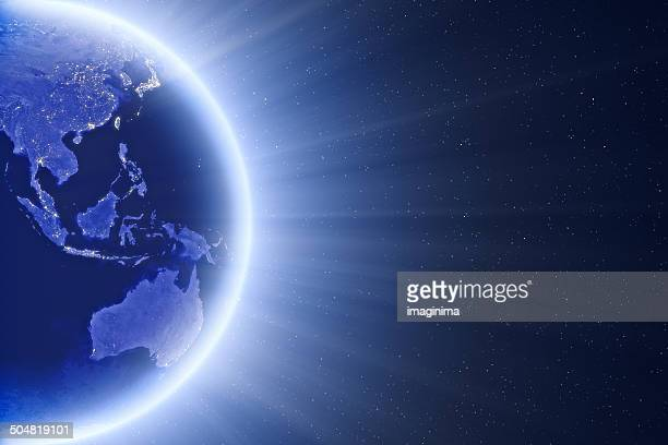 glowing blue globe - east asia and oceania - china east asia stock photos and pictures