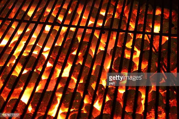 glowing burning hot barbeque grill - pejft stock pictures, royalty-free photos & images