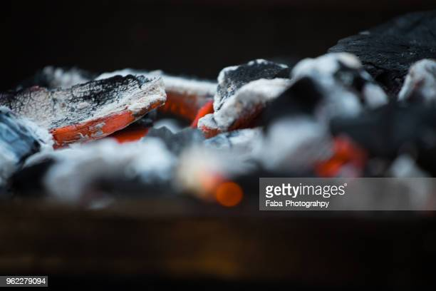 glowing charcoal in grill - coal stock pictures, royalty-free photos & images