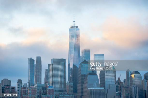 glowing clouds - one world trade center stock pictures, royalty-free photos & images