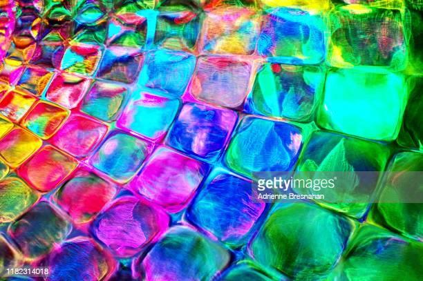 glowing colorful light squares - light natural phenomenon ストックフォトと画像