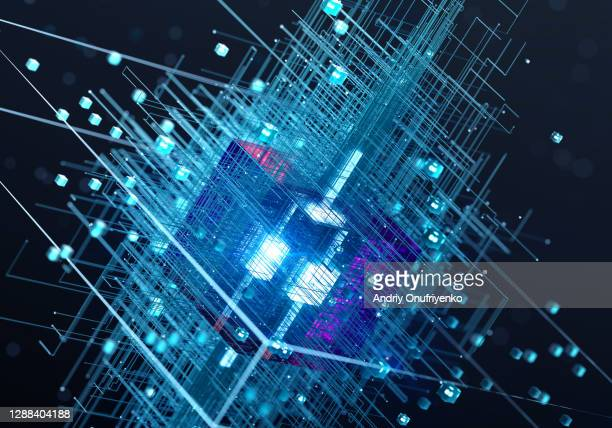 glowing cube connection - blockchain stock pictures, royalty-free photos & images