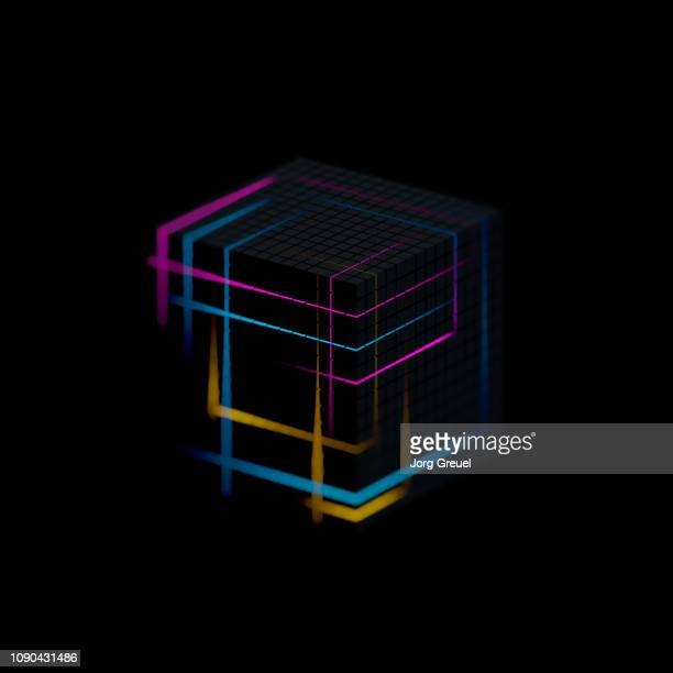 glowing cube - quadratisch komposition stock-fotos und bilder