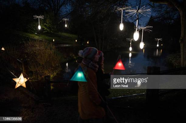 """Glowing dandelion seeds are seen suspended above a pond during the launch of """"Glow Wild"""" at Wakehurst on December 03, 2020 in Haywards Heath,..."""