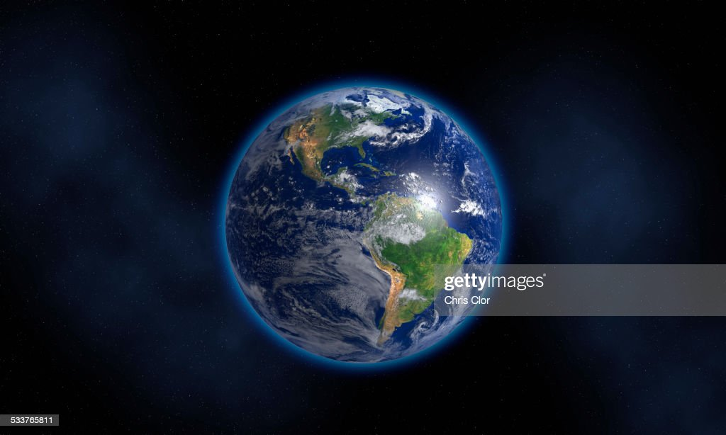 Glowing Earth floating in space : Foto stock