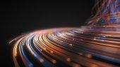 glowing fiber optic strings in dark. 3d illustration