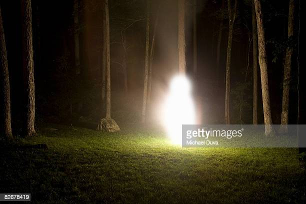 glowing figure in the woods