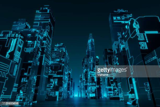 glowing futuristic city - landscape - copy space stock-fotos und bilder