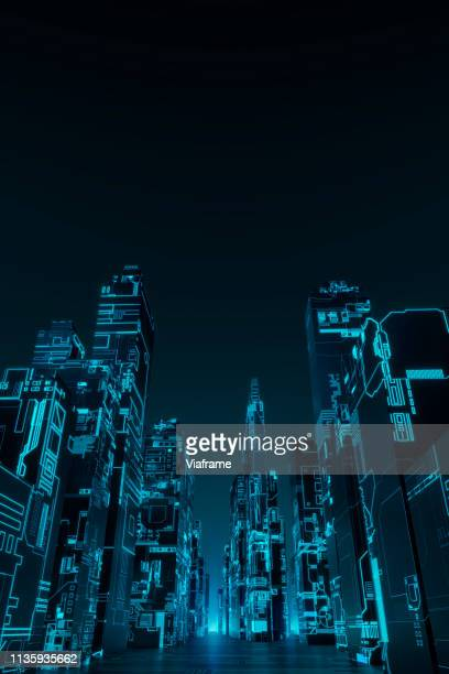glowing futuristic city - portrait - vertical stock pictures, royalty-free photos & images