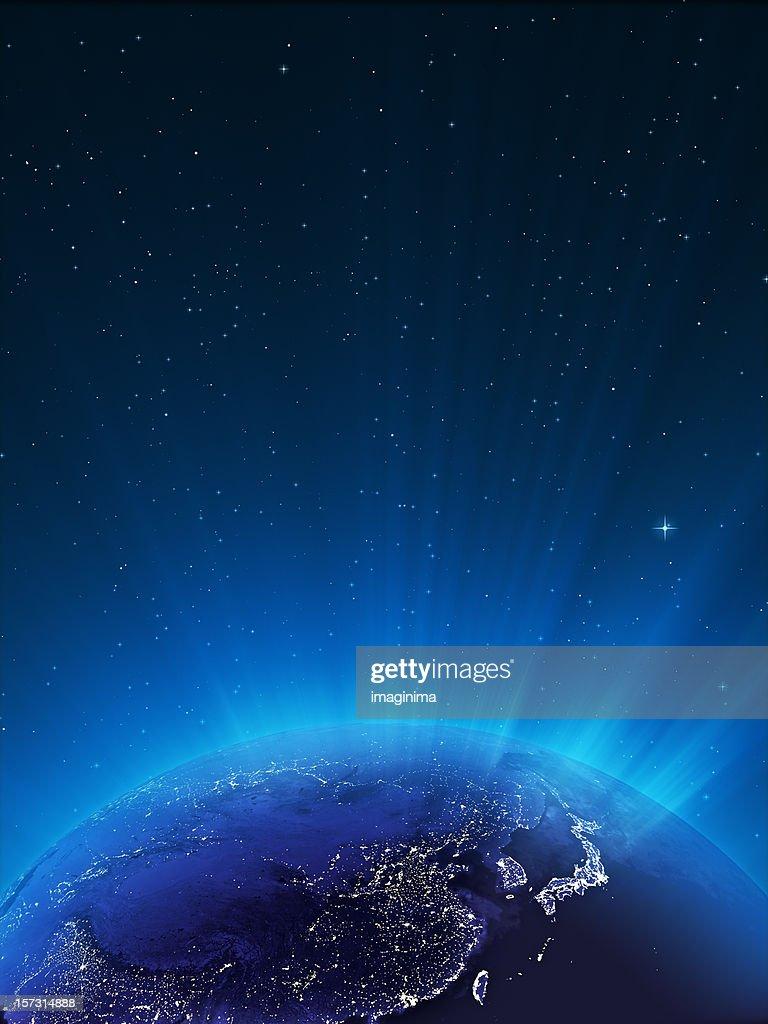 Glowing Globe ar Night Series - East Asia : Stock Photo