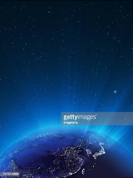 glowing globe ar night series - east asia - east asia stock pictures, royalty-free photos & images