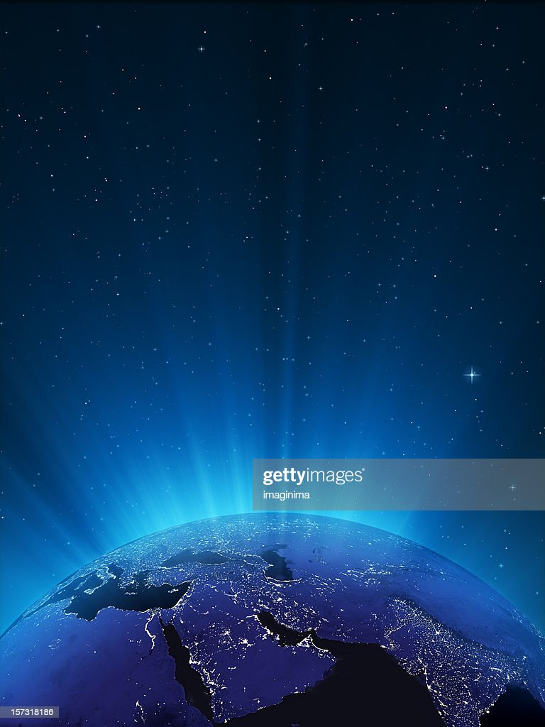 Glowing Globe at Night Series - Middle East : Stock Photo