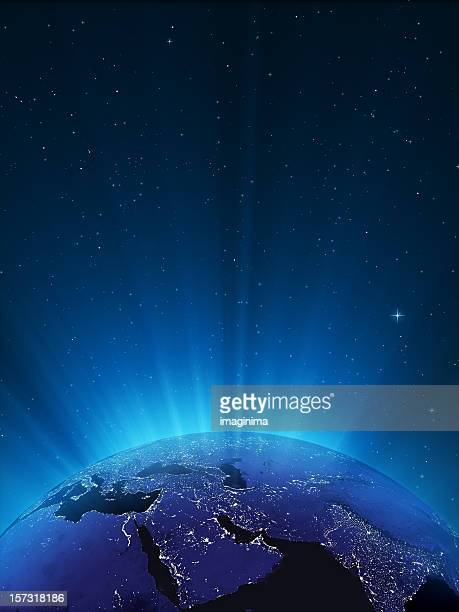 glowing globe at night series - middle east - world map stock photos and pictures