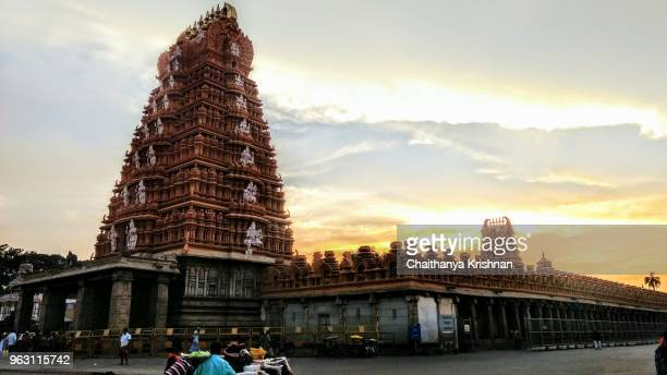 A glowing hindu temple near mysore with beautiful sunset hues