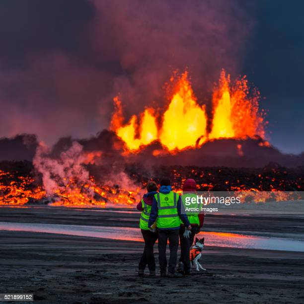 Glowing lava from the eruption at the Holuhraun Fissure, near the Bardarbunga Volcano, Iceland