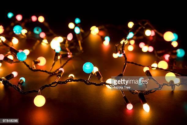 Glowing lights in the dark.