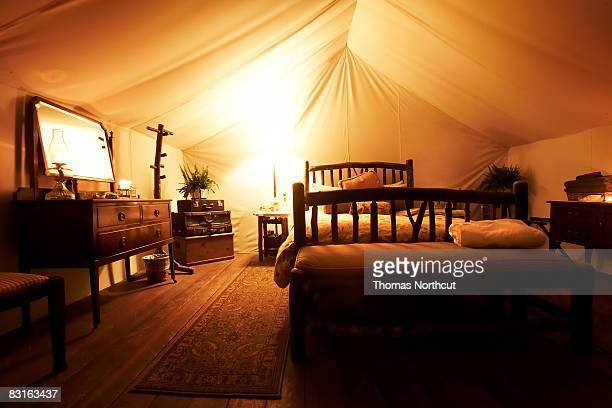 Glowing luxury tent interior