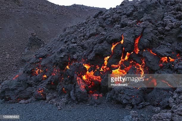 Glowing molten volcanic rock of Eyjafjallajokull,  Fimmvorduhals,  Iceland