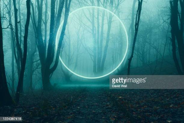 a glowing, portal, gateway floating above a track in a spooky misty winter forest, science fiction concept. - paranormal stock pictures, royalty-free photos & images