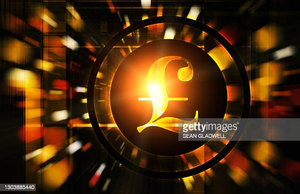 glowing pound icon - symbol stock pictures, royalty-free photos & images