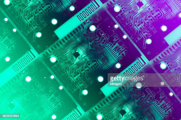 glowing printed circuit board - electronics stock pictures, royalty-free photos & images