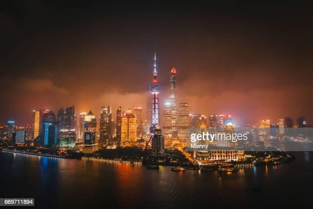 Glowing Shanghai Skyline Cityscape at Night China