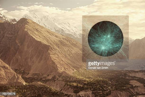 Glowing sphere in mountains, Hunza, Northern Areas, Pakistan