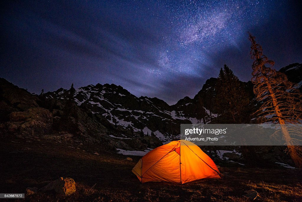 Glowing Tent Backpacking Under the Stars at Night  Stock Photo & Glowing Tent Backpacking Under The Stars At Night Stock Photo ...